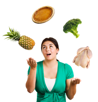 Food juggling woman